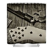Dead Mans Hand Black And White Shower Curtain