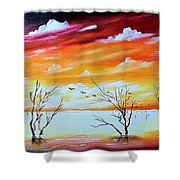 Dead Trees Reflection Shower Curtain
