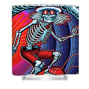 Deadhead Surfer Shower Curtain