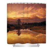 Deadwood River Sunrise Shower Curtain