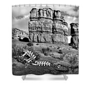 Death On Notom-bullfrog Road - Capitol Reef - Bw Shower Curtain