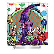 Death Takes His Bunny Friends To The Circus Shower Curtain