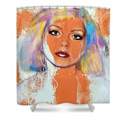 Debbie Harry - Orange Funky Grunge Shower Curtain
