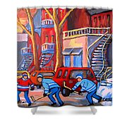 Debullion Street Hockey Stars Shower Curtain by Carole Spandau