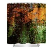 Decadent Urban Brick Green Orange Grunge Abstract Shower Curtain