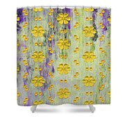 Decadent Urban Bright Yellow Patterned Purple Abstract Design Shower Curtain