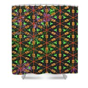 Decadent Urban Orange Green Patterned Abstract Design Shower Curtain
