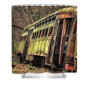 Decaying Trolley Cars Shower Curtain