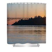 Deception Pass Bridge Sunset Sunstar Shower Curtain