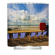 Deck Chairs At Southend On Sea Shower Curtain