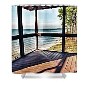 Deck With Ocean View Shower Curtain