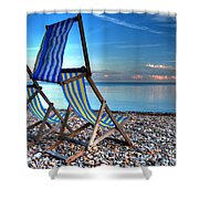 Deckchairs On The Shingle Shower Curtain