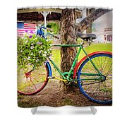 Decorated Bicycle In The Park Shower Curtain
