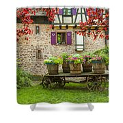 Half-timbered House, Riquewihr, Alsace,france  Shower Curtain