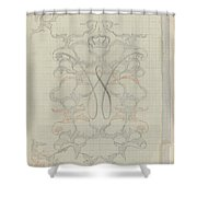 Decorative Design With Crowned W, Carel Adolph Lion Cachet, 1874 - 1945 Shower Curtain