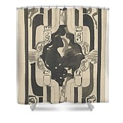 Decorative Design With Four Coats Of Arms, Carel Adolph Lion Cachet, 1874 - 1945 Shower Curtain