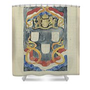 Decorative Design With The National Coat Of Arms, Flags And Banners, Carel Adolph Lion Cachet, 1874  Shower Curtain