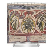 Decorative Design With Two Signatures, Carel Adolph Lion Cachet, 1874 - 1945 Shower Curtain