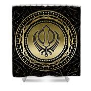 Decorative Khanda Symbol Gold On Black Shower Curtain