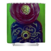 Decoupaged Vase With Fabric Flower Shower Curtain