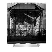 Decrepid Barn Black And White Shower Curtain