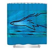 Deep Blue Shower Curtain by Ben and Raisa Gertsberg