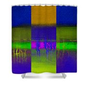Deep Blue Landscape Shower Curtain