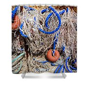 Deep Blue Net Shower Curtain