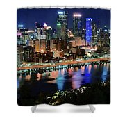 Deep Blue Night In Pittsburgh Shower Curtain