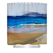 Deep Blue Sea And Golden Sand Shower Curtain