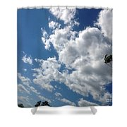 Deep Blue With Lovely Clouds Shower Curtain