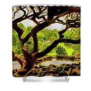 Deep Cuts Gazebo Between The Tree Branches Shower Curtain