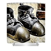 Deep Diver Boots Hdr And Vintage Process Shower Curtain
