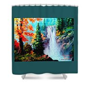 Deep Jungle Waterfall Scene. L A  Shower Curtain