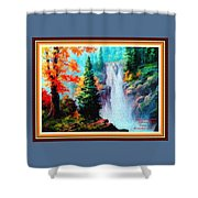 Deep Jungle Waterfall Scene L A With Alt. Decorative Ornate Printed Frame. Shower Curtain