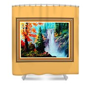 Deep Jungle Waterfall Scene L B With Alt. Decorative Ornate Printed Frame. Shower Curtain