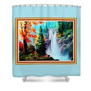 Deep Jungle Waterfall Scene L B With Decorative  Ornate Printed Frame. Shower Curtain