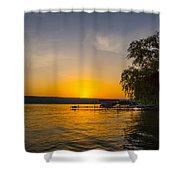 Deep Orange Sunset Over Keuka Lake Shower Curtain
