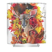 Deer And Fall Leaves Shower Curtain