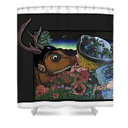 Deer And Girl Shower Curtain