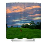Deer And Rising Moon Shower Curtain