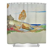 Deer And Stream Shower Curtain