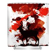 Deer Art Night Shower Curtain