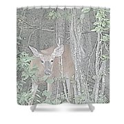 Deer By The Tree Line Shower Curtain