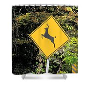 Deer Crossing Sign 2 Shower Curtain