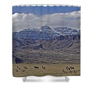 Deer Elk And Jim Mountain-signed Shower Curtain