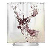 Deer In Ink Shower Curtain