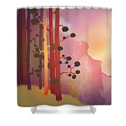 Deer In The Forest - Abstract And Colorful Mountains Shower Curtain