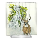 Deer In The Mist Shower Curtain