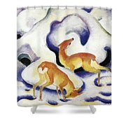 Deer In The Snow 1911 Shower Curtain
